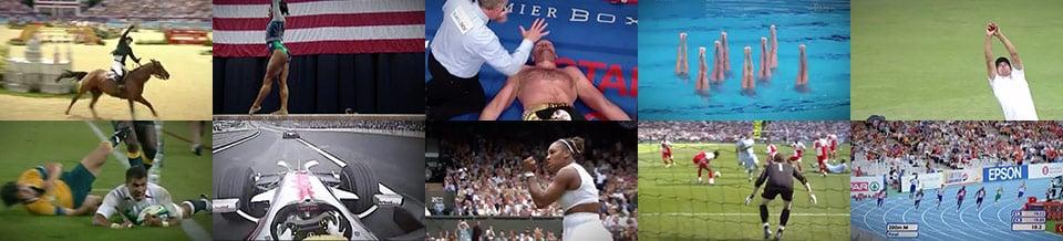Still frames taken from ten different sports videos