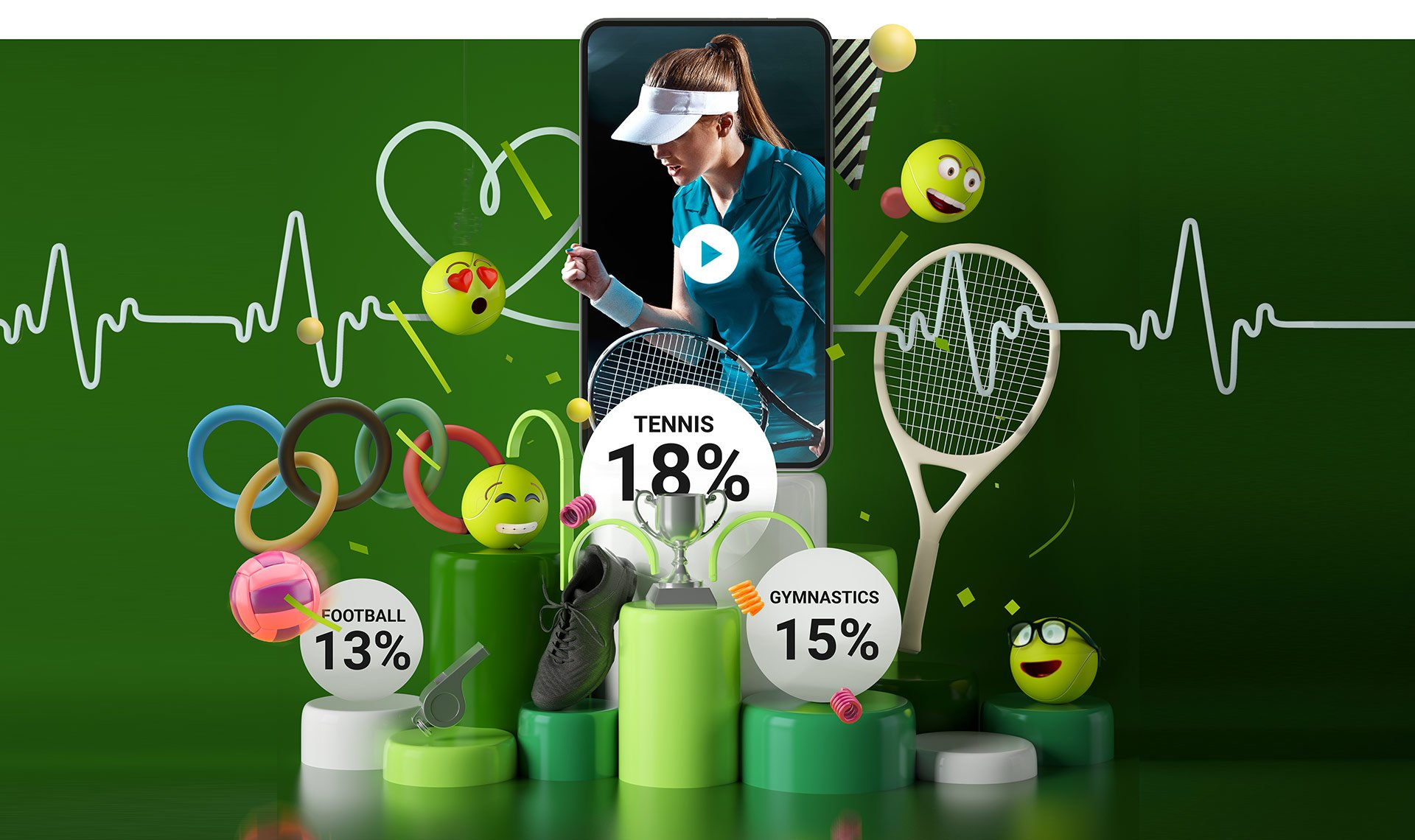 Illustration fo a podium surrounded by happy emoticons with Tennis awarded as the winner