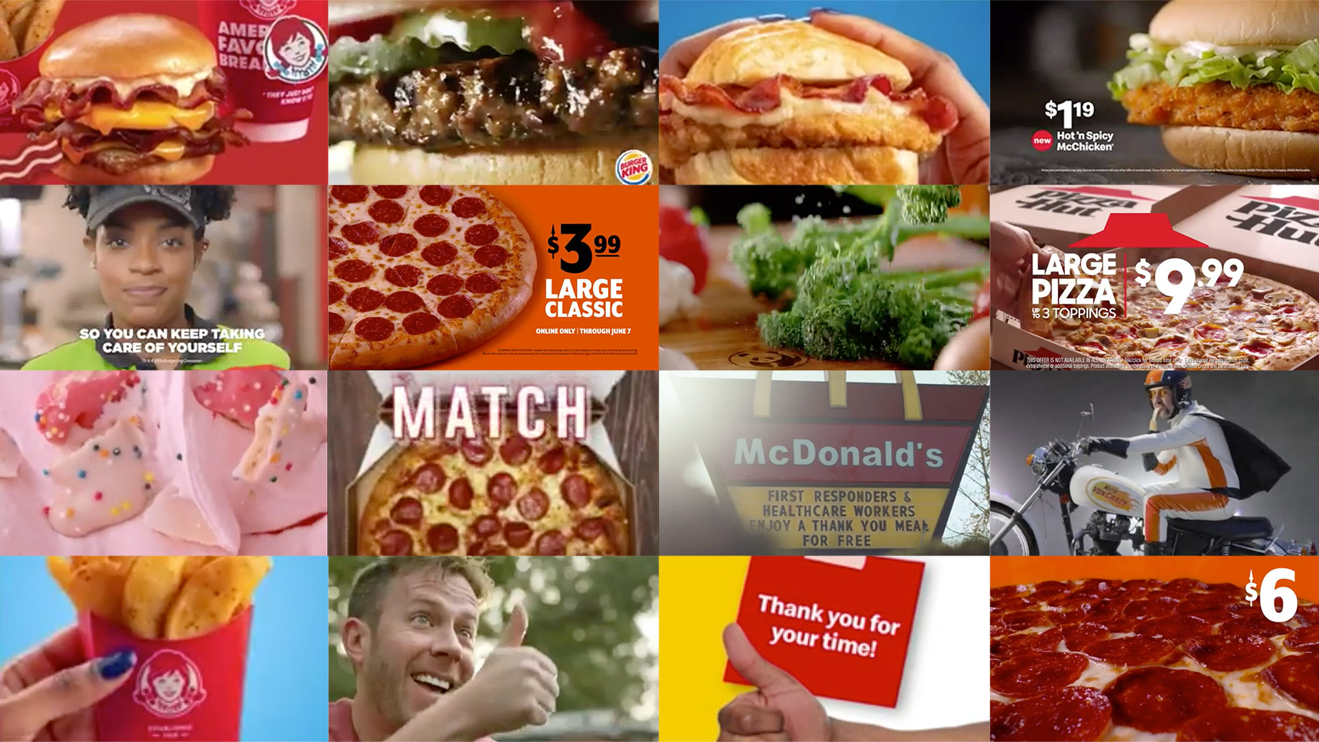 Selected thumbnails from some of the ads tested