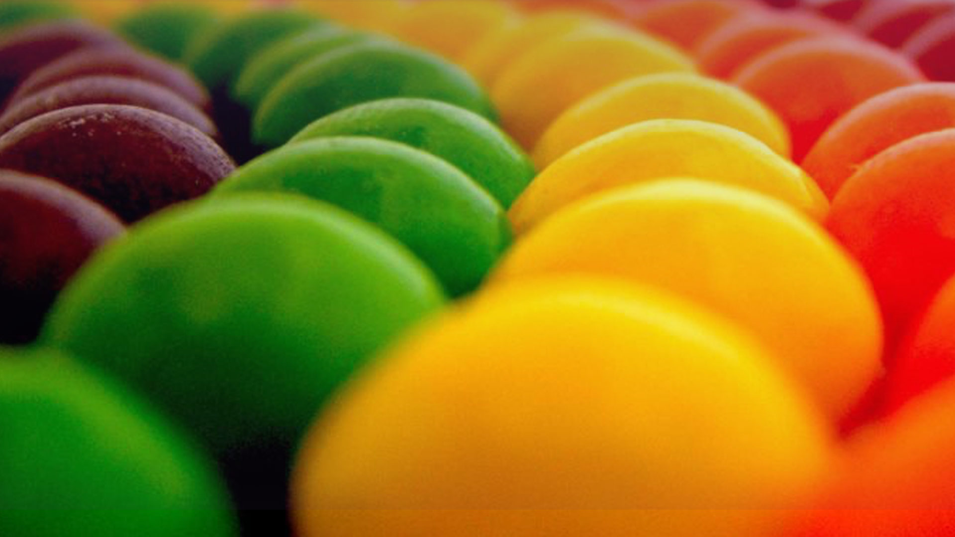 Close up of M&Ms arranged by color